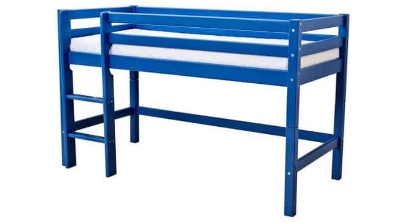 Blå halvhøj seng – Hoppekids